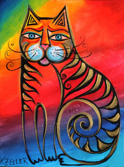Rainbow cat by Karin Zeller