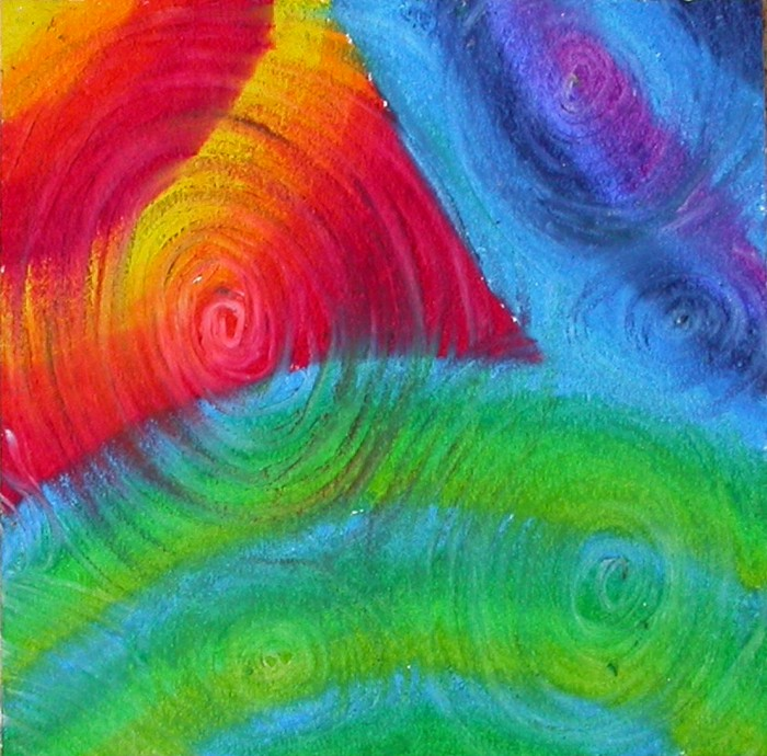 Step 2 - swirl over design with white oil pastel