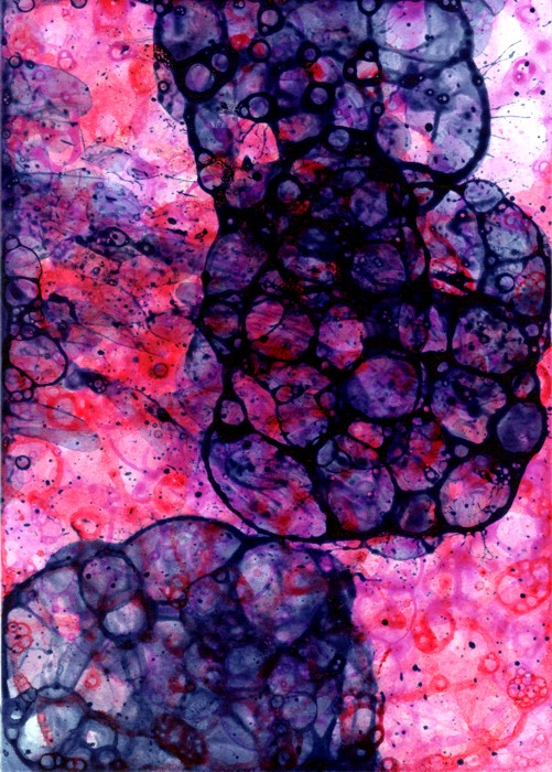 Purple-pink-red 1 bubble painting