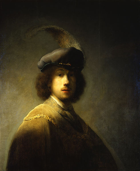 Rembrandt - 'Self portrait with plumed beret'