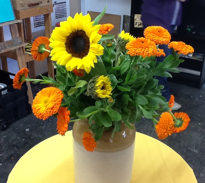 Sunflowers and marigolds stock