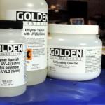 Golden polymer varnish and self-levelling gel