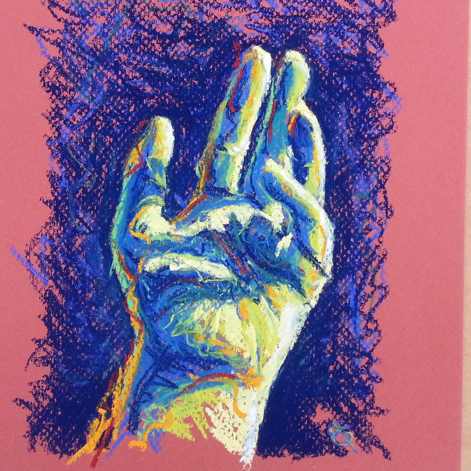 The artist's hand in pastel