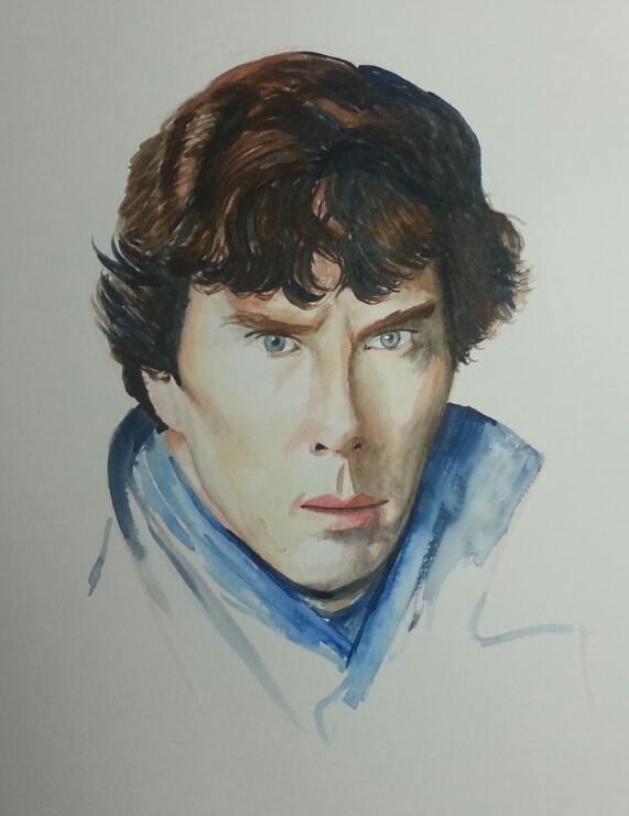 Sherlock watercolour
