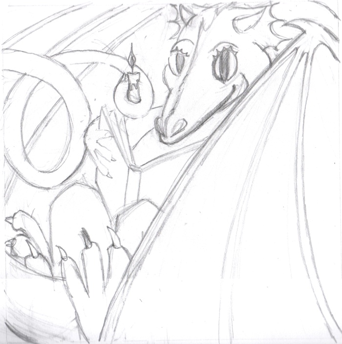 reading dragon sketch