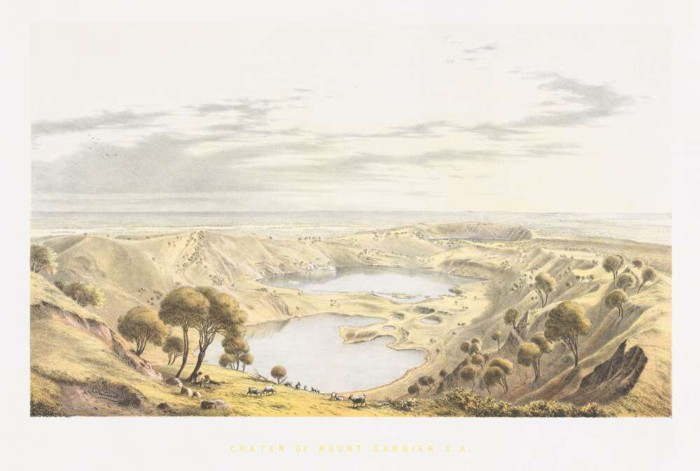 Crater of Mount Gambier, South Australia, 1867 [picture] / E. v. Guérard